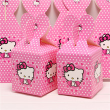 10pcs  Hello Kitty Cartoon Paper Candy Box Sweet Gifts Girl Kid Birthday Party Decoration Chocolate Boxes Souvenir Bag Supplies