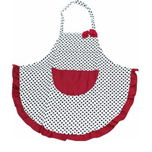 2017 Beautiful Apron Cute Black Dot BowKnot Dot Women Kitchen Restaurant Bib Cooking Aprons With Pocket Size:75*65cm