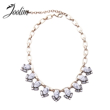 JOOLIM Retro Brass Chain Real White Marble Necklace Statement Necklace Factory supply free shipping(China)