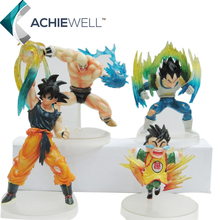 Anime Dragon Ball Z Characters Son Goku Vegeta Small Son Gohan Action Figure Fighting Cartoon Models Plastic Dolls 4pieces/set