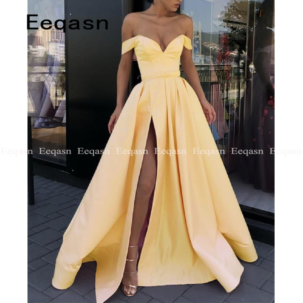 Yellow Off the Shoulder Sexy gala dress High Slit A Line Satin Elegant Prom Dresses Long Party Evening Gowns 2019 Plus Size