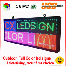 Outdoor p6  full color LED sign 40''x18'' support scrolling text LED advertising screen / programmable image video LED display
