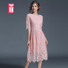 Real Photo Sweet Pink Lace Flower 2017 Brand Wedding Party Dress Ladys Womens Short Sleeves High Waist Dance Knee-Length Dress(China)