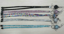 Free shipping 150 pcs/lot Fashion rhinestone lanyards id badge holder for mobile phone