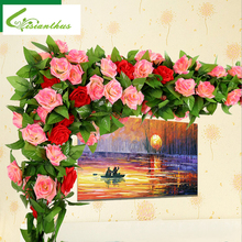 245cm Fake Silk Roses Ivy Vine Artificial Flowers with Green Leaves for Home Party Wedding Decoration Hanging Garland Decor 1PCS(China)