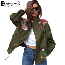 Everkaki 2017 Women Basic Coats Peony floral Army Green Summer Embroidery Jacket Streetwear patches Rivet Zipper Retro Parkas(China)