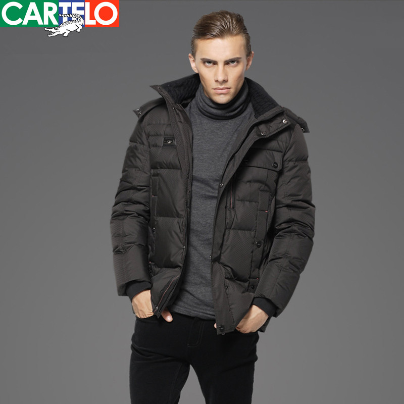CARTELO Business Long Thick Coat Down Jackets Casual Hooded Gray Duck Down Men's Medium Long Sections Thick Coat(China)