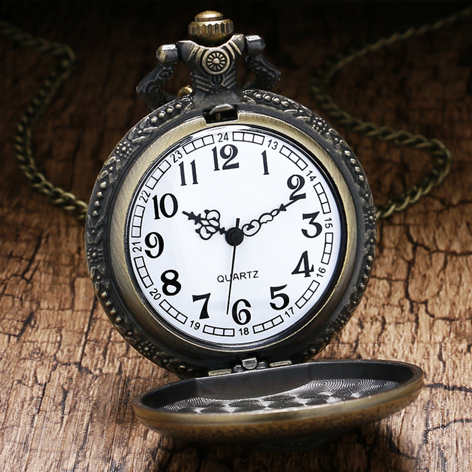 Antique Steampunk ACDC Hells Bell Quartz Pocket Watch Necklace Pendant Retro Men Women Xmas Gift (2)