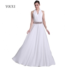 Buy Sexy Beach Wedding Dresses 2017 New Beaded Crystal Halter Floor Length Bridal Gown Vestido de Noiva Bride Dress for $108.00 in AliExpress store