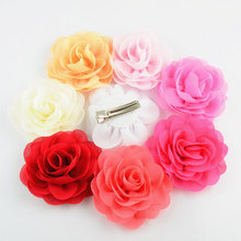 10pcs/pack Kids hair flowers clips for girls,double prong hair clips with 8cm chiffon rose flowers NEON PINK, MINT, NEON ROSE