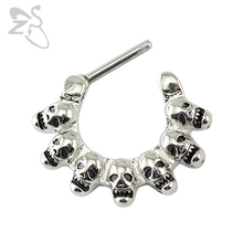 Skull nose ring septum piercing jewelry hoop nose rings septum piercing clicker septum ring real body piercing helix septo