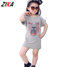ZIKA Brand Summer Dresses For Girls 2017 Casual Tiger Print Baby Girls Dresses 2-7Y Toddler Girl Dresses Design Kids Clothes C40