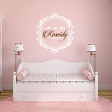 Princess Wall Decal Girls Bedroom Perfect Quality Vinyl Removable Wall Stickers Shabby Chic Decor Personalized Name Decals ZA610(China)