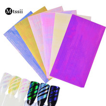 Mtssii 6 Sheets Ultra Thin Laser Stripe LineSticker Foil Decal Stickers Holographic Strip Tape Nail Art Stickers 3D Manicure(China)