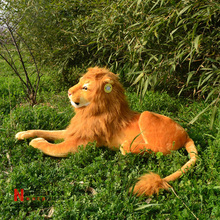 about 70 cm simulation lion plush toy lying brown lion doll birthday gift w5407