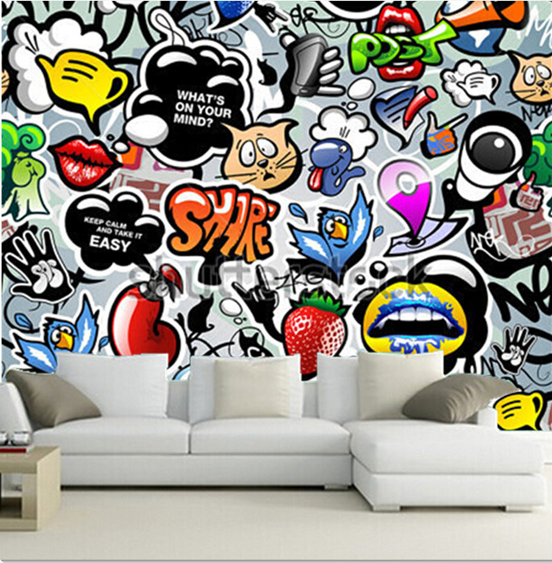 Custom 3D large murals,beautiful all kinds of lovely graffiti papel de parede ,living room sofa TV wall bedroom wall paper<br>