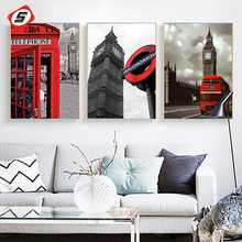 Red London Bus Posters Prints Cityscape Canvas Painting For Living Room Wall Picture Scandinavian Modern Art Home Decor No Frame(China)