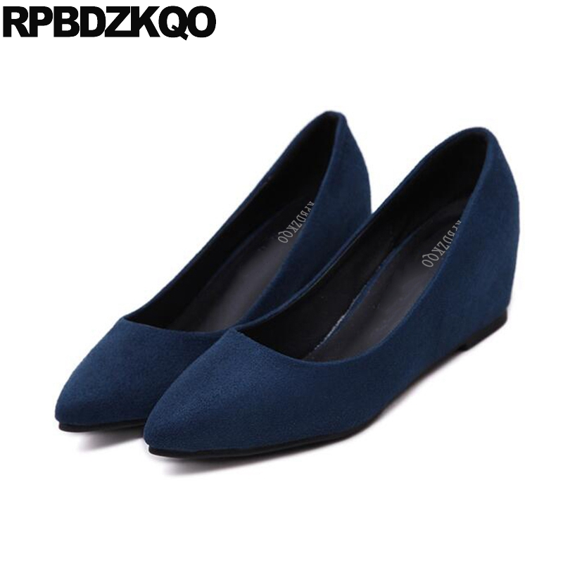 Women Size 4 34 Court Pumps Cheap 2017 Pointed Toe High Heels Medium Purple Classic Office Wedge Shoes Ladies Slip On Blue Suede<br>