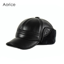 HL165-F Genuine leather baseball cap hat  men's winter brand new cow skin leather sport  hats caps black with Faux fur inside