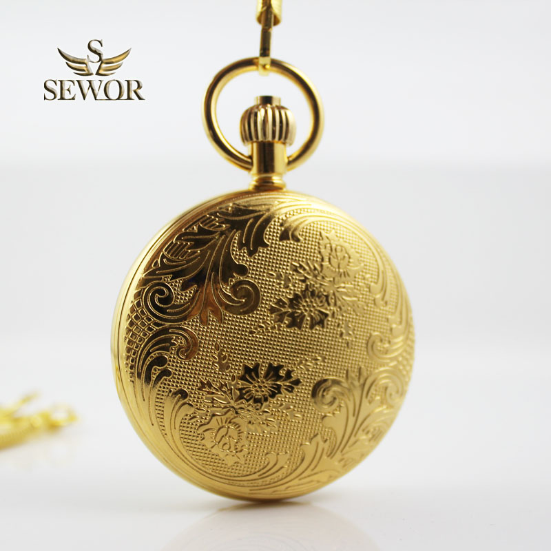 SEWOR 2018 Top Brand Noble golden flower pattern double - Roman digital mechanical  moonphase Tourbillon pocket watch C215<br>