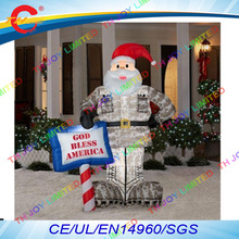 free air shipping to door,10ft/3m christmas decoration Outdoor inflatable santa claus with LED camouflage(China)