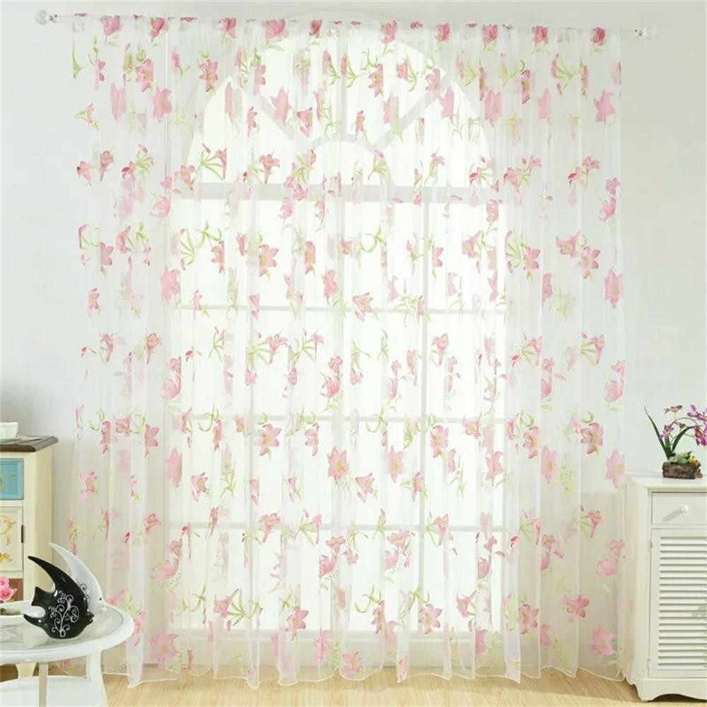 1 Panel Fabric Leaves Sheer Curtain Tulle Window Treatment Voile Drape Valance Window Drapes Decor Modern Tulle Curtains