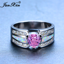 JUNXIN Women Princess Pink Heart Ring White Fire Opal Ring 925 Sterling Silver Filled Fashion Jewelry Promise Engagement Rings