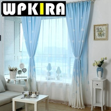 Fashion New White Cloud Castle Patterned Cotton Curtain Fiber Kids Room Shade Curtain Panel Baby Curtain Children Bed Curtain 30