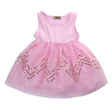 Xmas Fancy Princess Girls Sequins Sleeveless knee above Toddler Baby Party Lace Tutu Dress