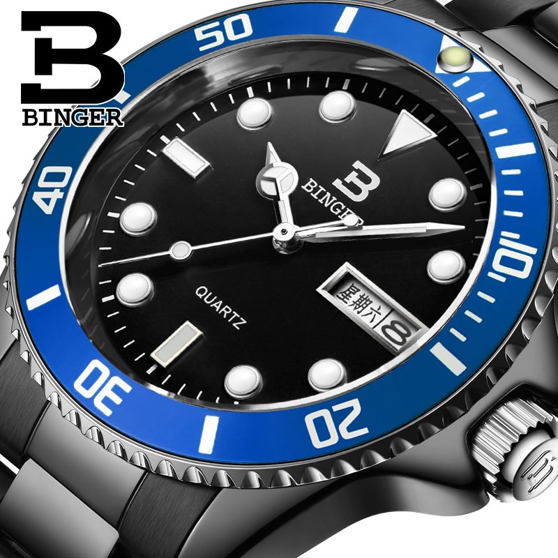 Switzerland luxurymens watch BINGER brand quartz full stainless fashional luminous Wristwatches 1 year guaratee clock B9203M-9<br>