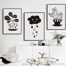 Modern Minimalist Black and White Painting Potted Plant Dark Clouds Rain Poster Image A4 Art Print Canvas Children Bedroom Decor