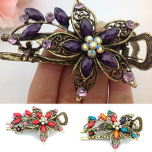 LNRRABC Fashion Flower Hair Clip Crystal Hairpin Lady Vintage Elegant Barrette Hair Accessories Hair Claws acessorio para cabelo