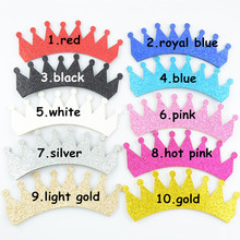30pcs/lot DIY Party Glitter Felt Crown Unfinished Supply girl First Birthday Photo Prop Hair Accessories 10 Colors U Pick GC01