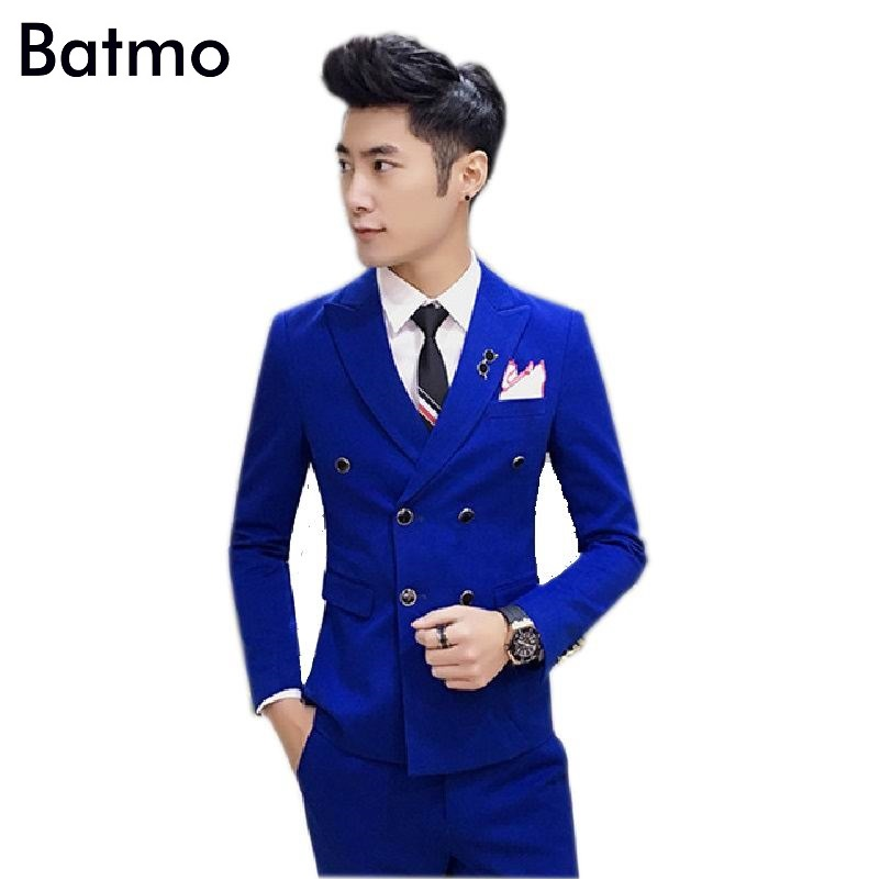 2017 new arrival cotton High quality Double Breasted blue suits men, wedding dress,size S M,L,XL,XXL,XXXL,XXXXL
