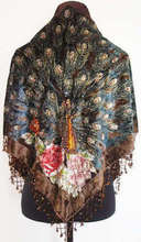 Brown Chinese Women Velvet Silk Beaded Shawl Embroidery Triangle Scarf Wrap Scarves National Trends Peafowl Pashmina WS009