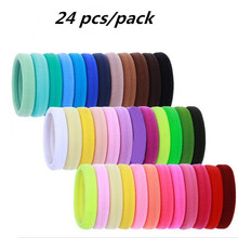 24pcs/Pack Candy Color Super Stretch Quality Cloth Hair Ties/ Girls Hair Ropes Women Hair Accessories