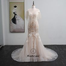 New Design Long Wedding Dress 2018 O-Neck Puff Sleeves Court Train Appliques Lace Tulle Bride Gowns Robe de mariee casamento(China)