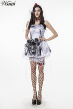 2017 Gothic Manor Zombie Wedding Corpse Costume Ghost Bride Fancy Dress Halloween Party Cosplay Zombies Costume