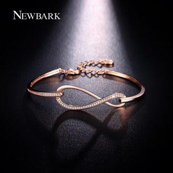 NEWBARK Micro CZ Diamant Pavée Figure 8 Infinity Bracelet Rose Or Et Or Blanc Plaqué Homard Fermoir Bijoux Éternité