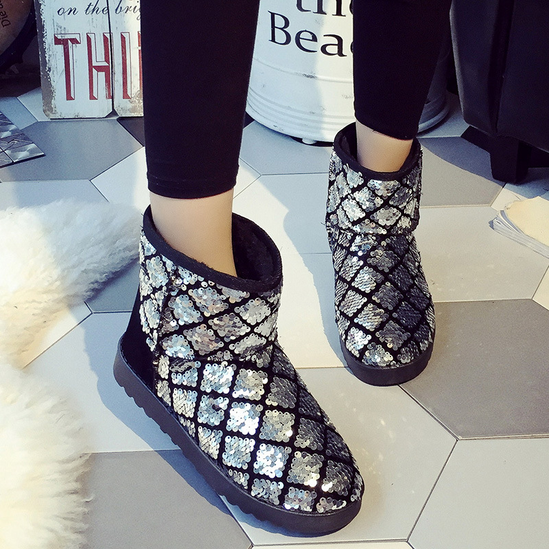 Snow Boots Women Winter New Short - Sleeved Sequins Winter Boots Women s Warm Snow Shoes<br><br>Aliexpress