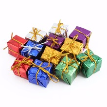 12pcs/pack 2.5cm Chrismas Tree Ornament Mix Color Mini Gift Box Christmas Tree New Year Decorations Wholesale