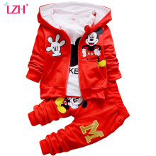 LZH Children Boys Clothes 2017 Winter Girls Clothes Set Coat+T-shirt+Pants 3Pcs Kids Clothes Girls Sport Suit Children Clothing