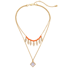 Acrylic Beads Square Synthetic Stone Pendant Chic Orange Necklace Trendy Ladies Removable Chain Necklace