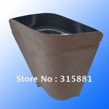 Stand up pouches for coffee packaging in aluminum foil, L11CMXH18CMXW3CM  Natural Kraft Paper Bag,100pcs/lot