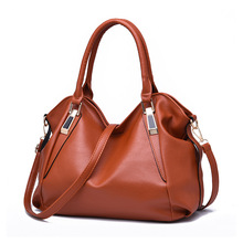 New Brown Women Big Casual Tote Bag Fashion Women Messenger Bags Ruched Solid Pu Leather Crossbody Shoulder Hobo Bag 36*15*26 Cm