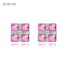 ZH.KH.ONG Korean fashion geometry Square crystal stud earrings embed zircon women jewelry Exquisite square E264 - ZH KH ONG Store store