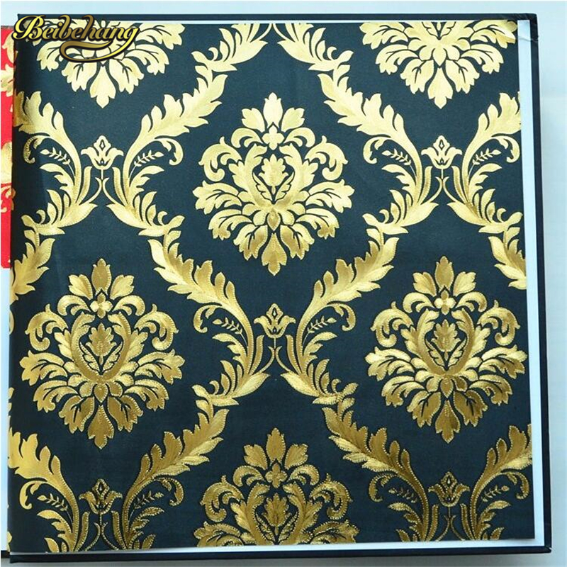 beibehang Modern PVC gold wall paper Damask 3D Wallpaper ROll For Wall Luxury Classic For Living room Bedroom TV Sofa background<br>