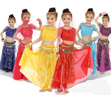 Short sleeve Bollywood Dance Costumes for Kids Girls Belly Dance Clothing Indian Dance Suits Children Oriental Clothes 6pcs/set