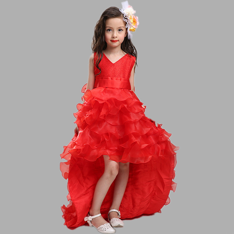 2018 New High quality Flower Girl Dress Kids  Ball Gown Trailing Party Prom Dress with Bow-knot Tiers Fashion Wedding Dress<br>