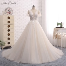 Buy New Long Wedding Dress 2018 Scoop Short Sleeves A-Line Chapel Train Appliques Tulle Bridal Gowns Vestido de noiva for $289.00 in AliExpress store